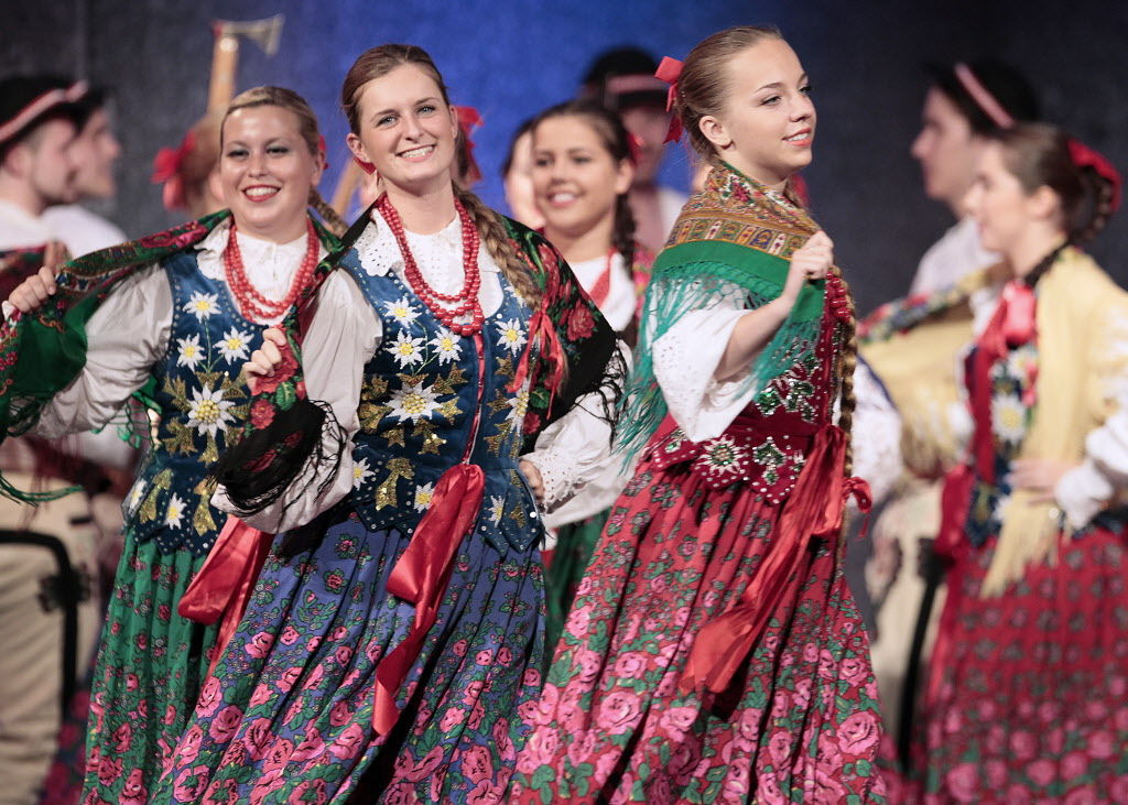 Beautiful coloured costumes on display at the Warsaw-Poland pavilion Sunday.