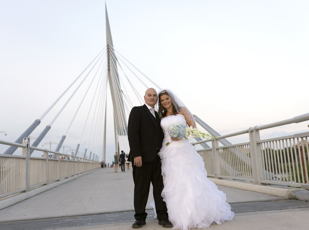 Gerald Lavergne and Shelley Carlson-Lavergne tied the knot Saturday at the Esplanade Riel Bridge. They are the first couple to wed there.