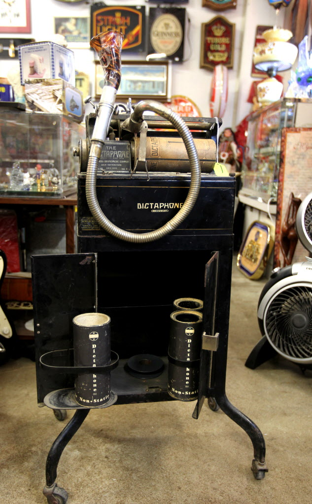 Thirsty's Flea Market at 1111 Ellice Ave. has eclectic vintage goods, including a dictaphone, a voice-recording device, from the 1930's that was used in court rooms.