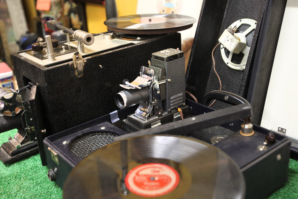 Thirsty's Flea Market at 1111 Ellice Ave. has eclectic vintage goods, including a picture phone. It was probably used in schools similar to a projector. (Ruth Bonneville / Winnipeg Free Press)