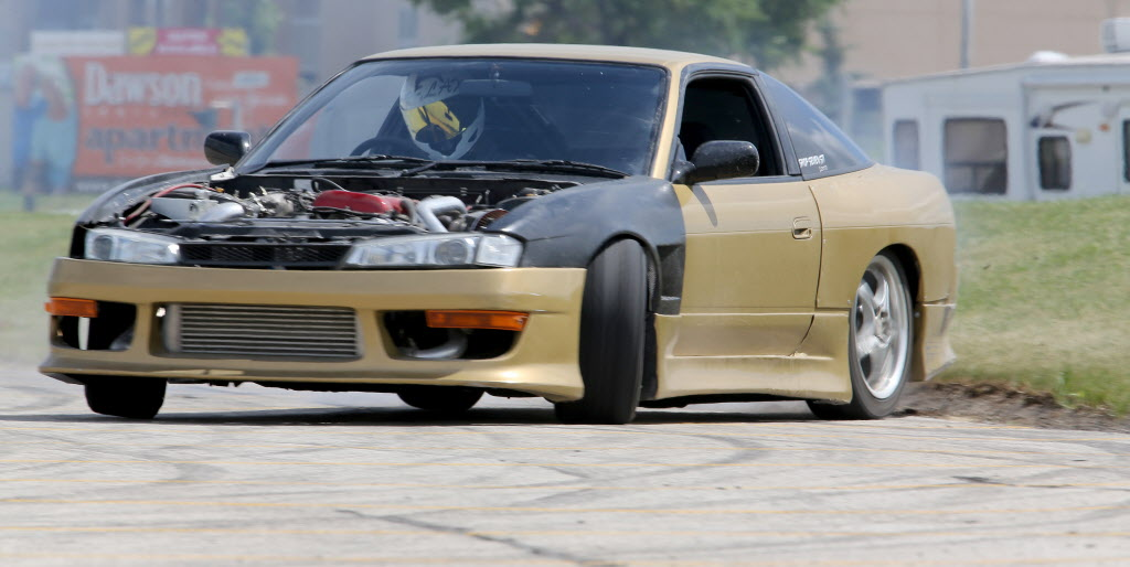 Carter Jackson participates in a drifting demo at Springs Church Sunday.