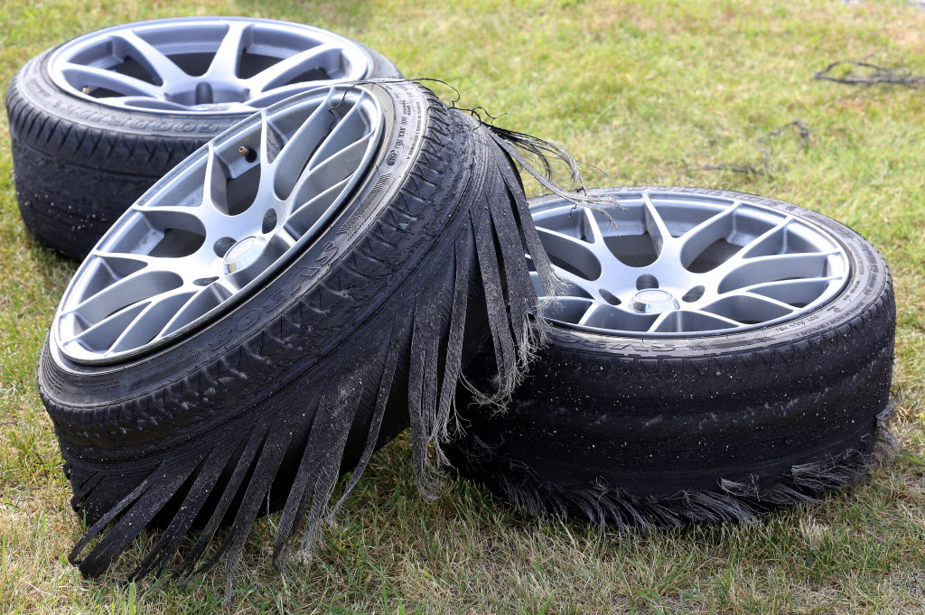 Used tires at a drifting demo at Springs Church. (Trevor Hagan / Winnipeg Free Press)