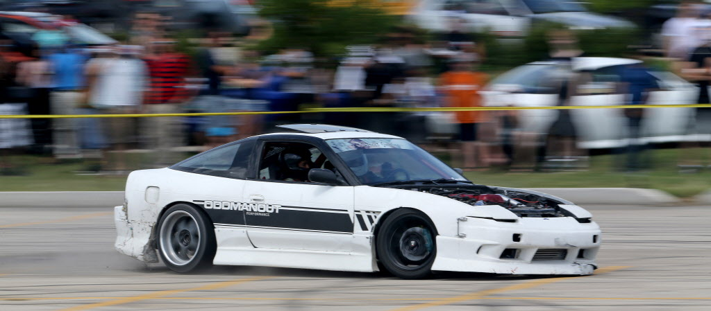 Blair McIntosh participates in a drifting demo at Springs Church. (Trevor Hagan / Winnipeg Free Press)