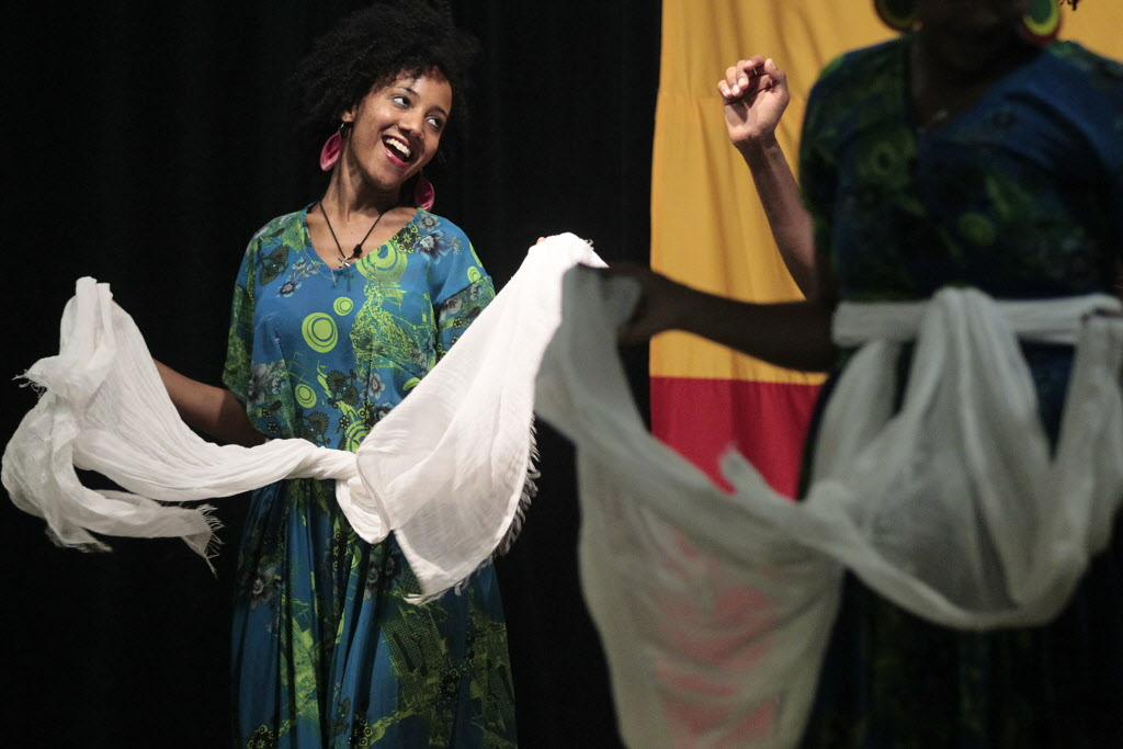 Dancers perform at Folklorama's Ethiopian Pavilion Monday. (John Woods / Winnipeg Free Press)