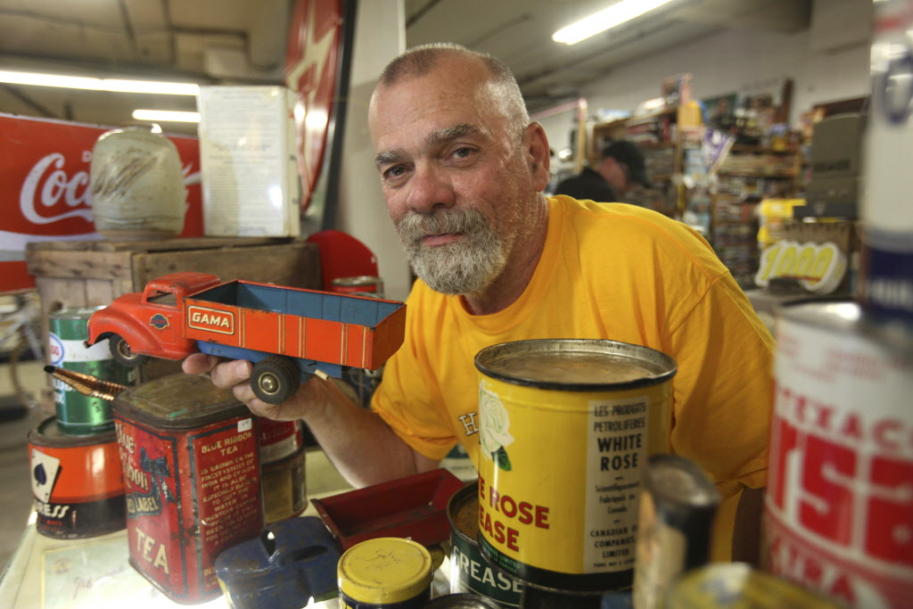 Bill Marce began renting a booth at the flea market in April. He collected coins and tin advertising signs for years before deciding to sell off the items.