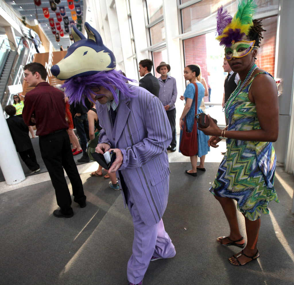 More fans arrive in costume for Arcade Fire at MTS Centre Thursday.  ( Phil Hossack / Winnipeg Free Press)