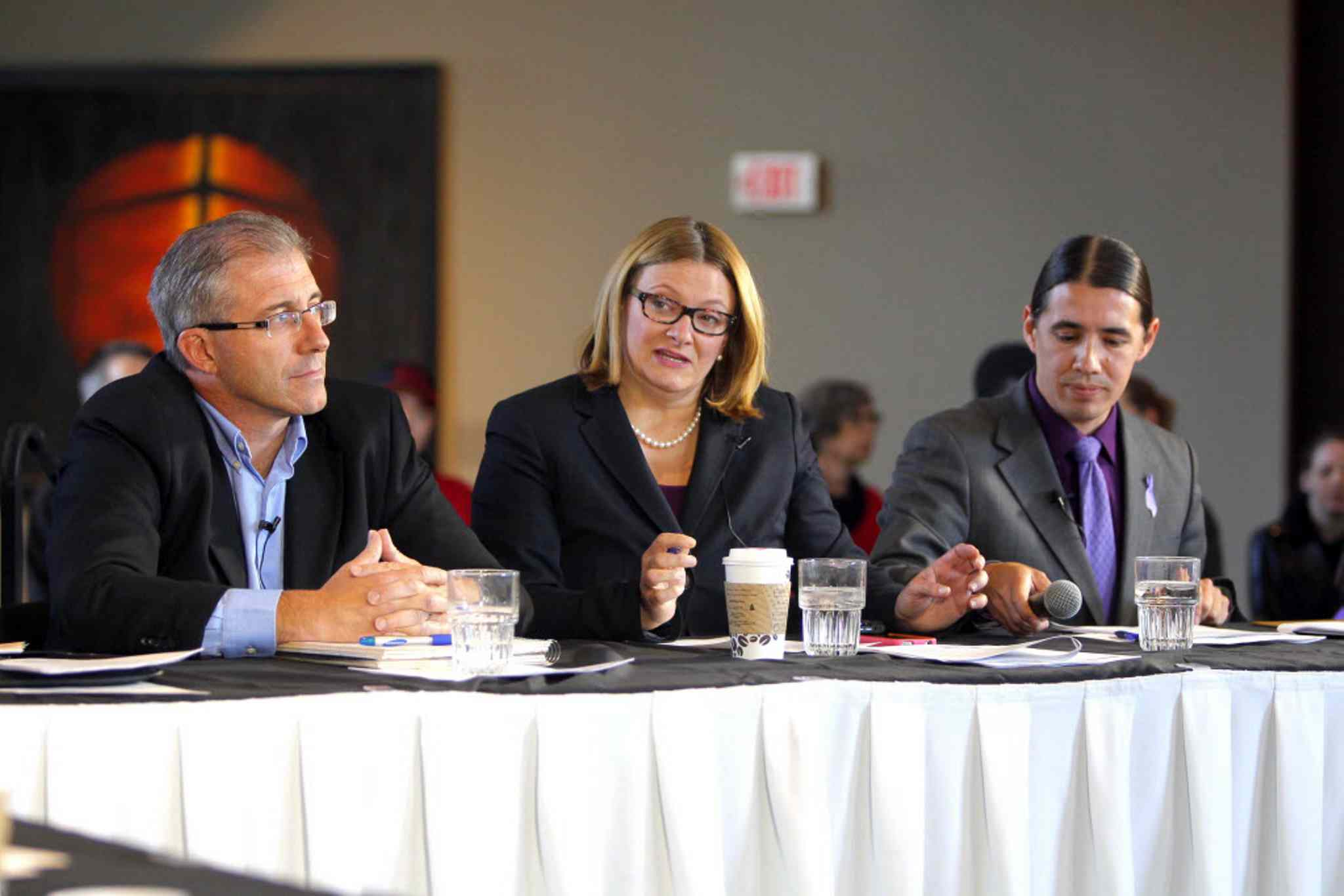 Gord Steeves, Paula Havixbeck and Robert-Falcon Ouellette mayoral debates at the Hydro building downtown.