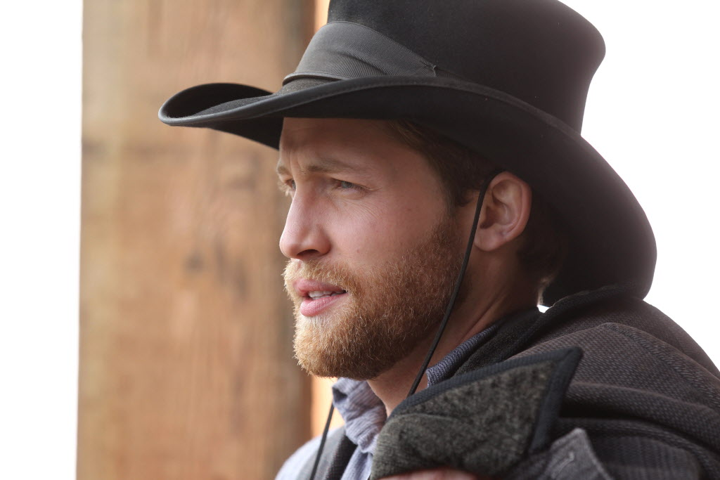 Actor Jacob Blair on location of the set for The Pinkertons.   (Ruth Bonneville / Winnipeg Free Press)