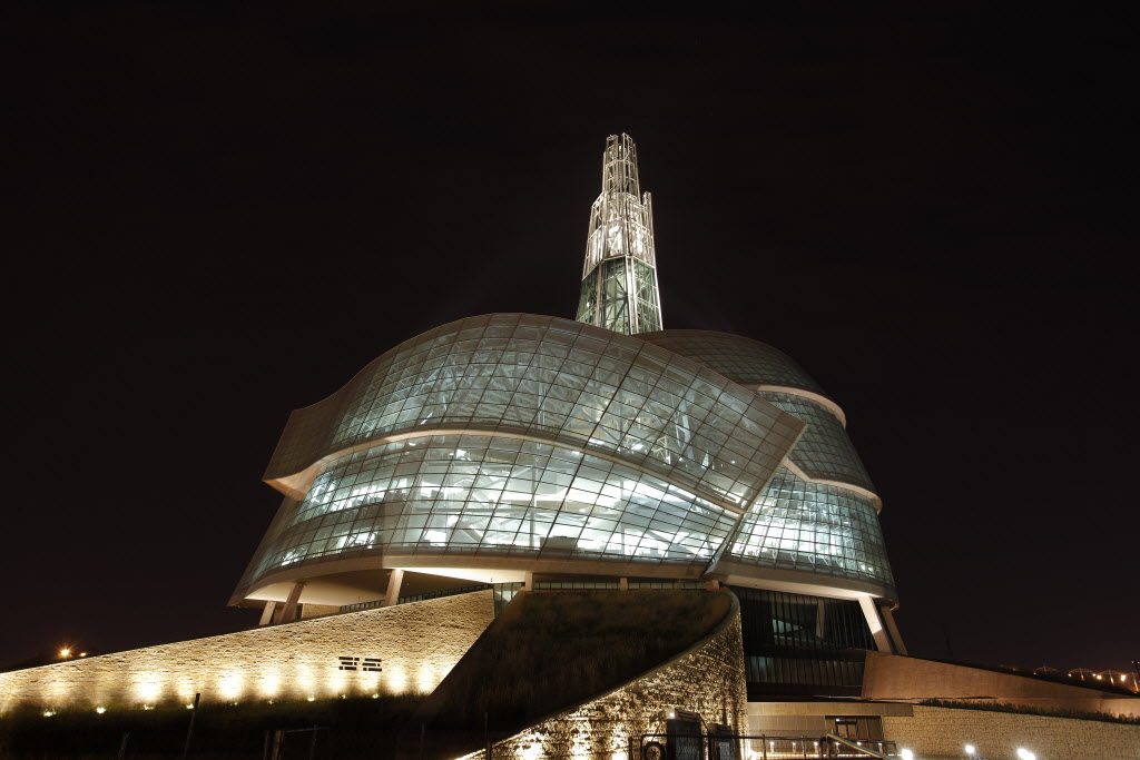 A night view of the Canadian Museum for Human Rights.