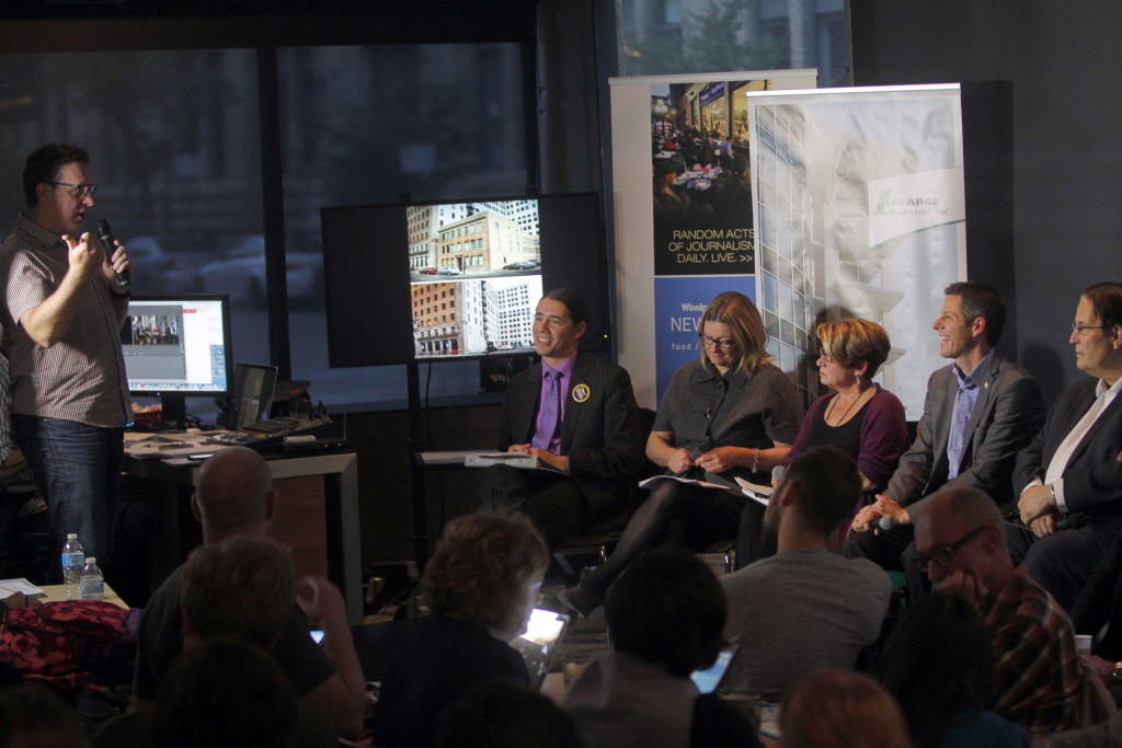 Mayoral candidates (seated from left) Robert-Falcon Ouellette, Paula Havixbeck, Judy Wasylycia-Leis, Brian Bowman and David Sanders take part in a mayoral forum focused on design and the city at the Winnipeg Free Press News Café Wednesday night.