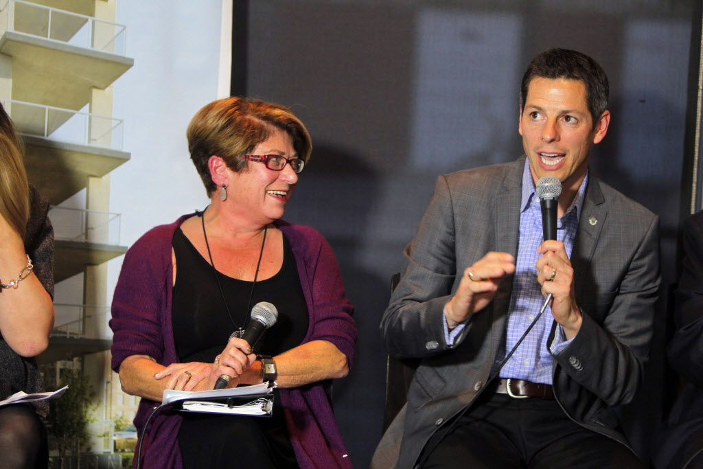 Judy Wasylycia-Leis and Brian Bowman at a mayoral debate at the Winnipeg Free Press News Cafe last month. Bowman is now in second place.