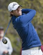 Aaron Baddely, of Australia, watches his drive off the first tee during the first round of the Valero Texas Open golf tournament, Thursday, March 26, 2015, in San Antonio. (AP Photo/Darren Abate)