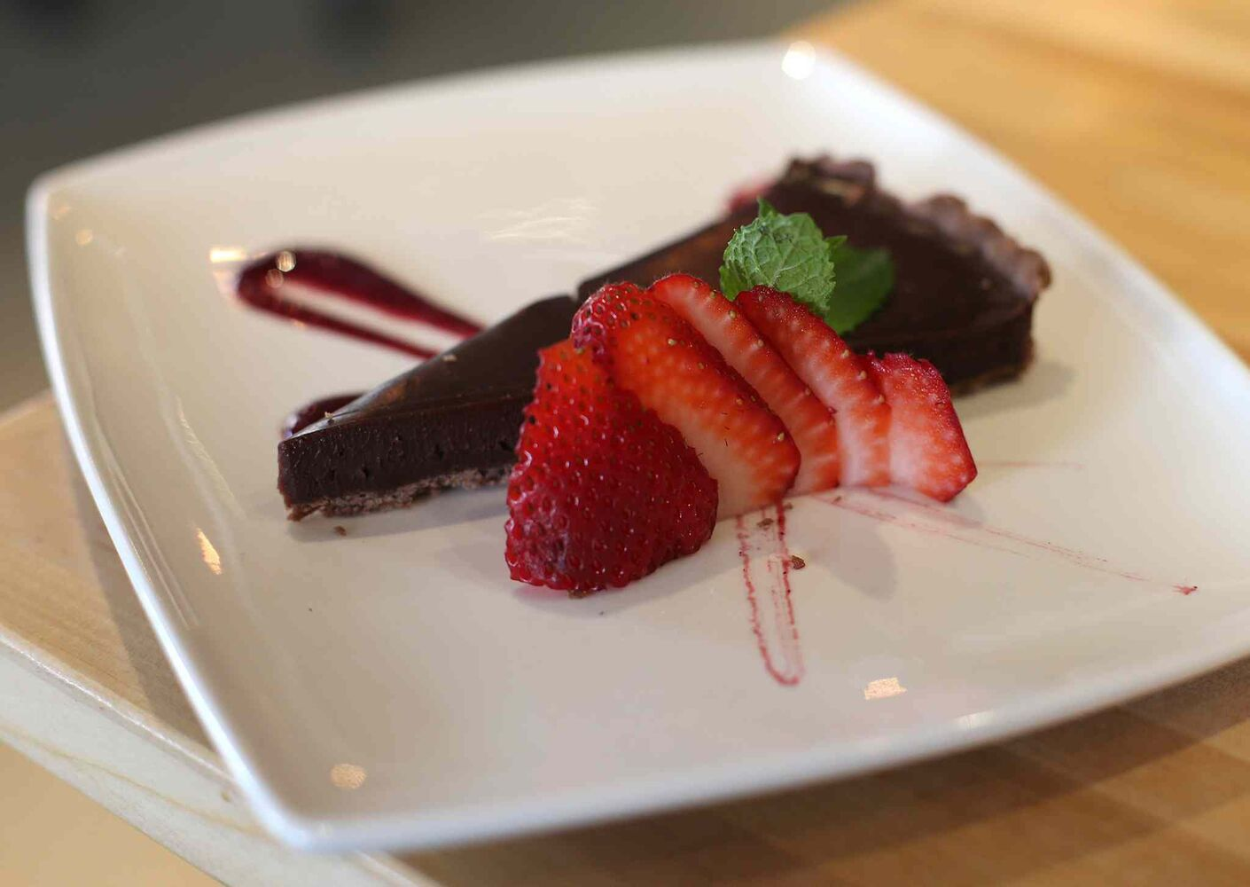 Chocolate peanut butter torte at the Cornerstone Bar and Restaurant. (Jason Halstead / Winnipeg Free Press)