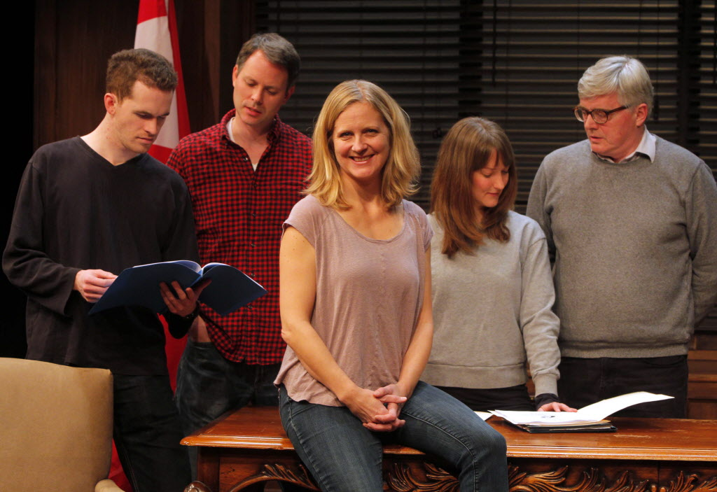 Theatre Projects Manitoba artistic director Ardith Boxall, centre, on the set of Proud. Behind her is the cast, from left: Kevin Gable, Eric Blais, Daria Puttaert and Ross McMillan.
