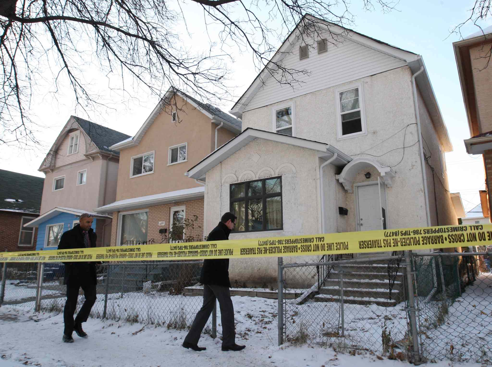 Winnipeg police arrive at a crime scene at a rooming house at 500 Victor Street in 2014. A 44-year-old woman was taken to hospital with critical stab wounds where she later died. Winnipeg had a homicide rate of 3.29 per 100,000 people, which ranked second only to Thunder Bay (9.04) among Canadian cities with a population of at least 100,000.
