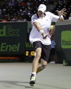 John Isner returns to Grigor Dimitrov at the Miami Open tennis tournament, Monday, March 30, 2015, in Key Biscayne, Fla. (AP Photo/Lynne Sladky)