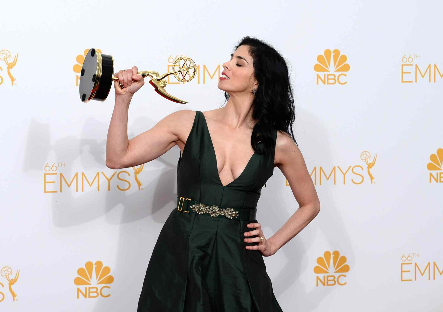 Sarah Silverman poses in the press room with her Emmy for writing on HBO's Sarah Silverman: We Are Miracles. (Jordan Strauss/Invision/ The Associated Press)