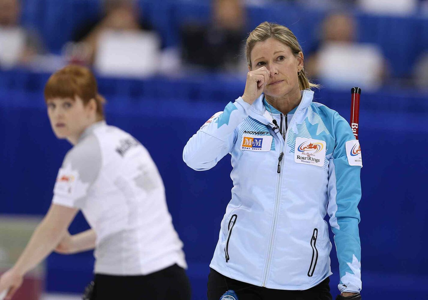 Skip Sherry Middaugh  reacts to a shot during action against Jennifer Jones in the women���s final of Roar of the Rings curling at the MTS Centre on Sat., Dec. 7, 2013. Photo by Jason Halstead/Winnipeg Free Press (Jason Halstead / Winnipeg Free Press)