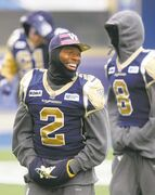 Bombers strong-side linebacker Jovon Johnson will have his hands full with Stamps receiver Nik Lewis today.