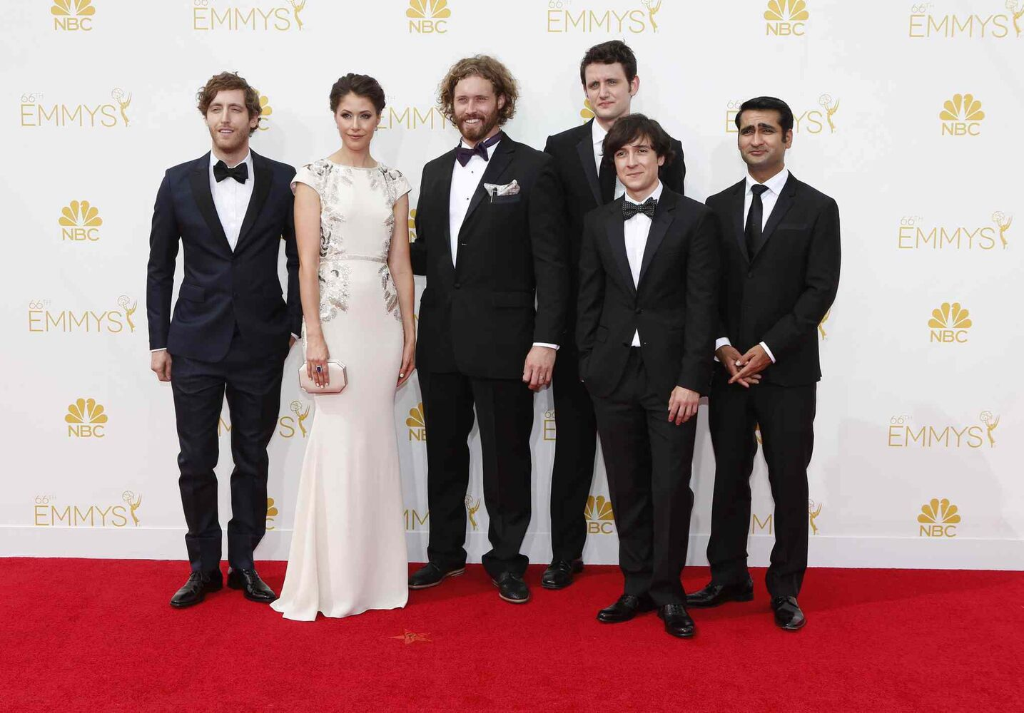 The cast of HBO's Silicon Valley arrives for the 66th Annual Primetime Emmy Awards at Nokia Theatre at L.A. Live in Los Angeles. (Tribune Media MCT)