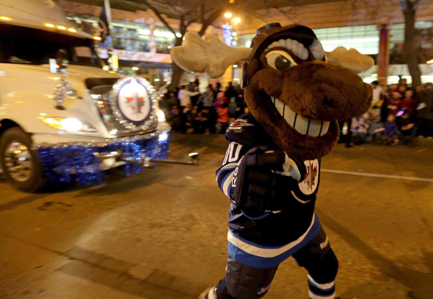 Winnipeg Jets mascot Mick E. Moose was among the paraders. (TREVOR HAGAN / WINNIPEG FREE PRESS)