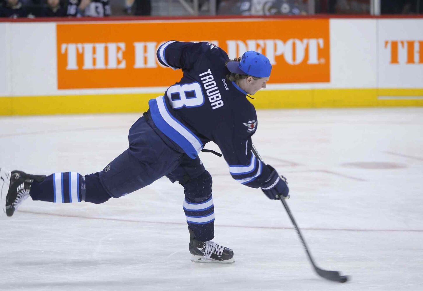 Defenceman Jacob Trouba unloads during the hardest shot portion of the skills competition.