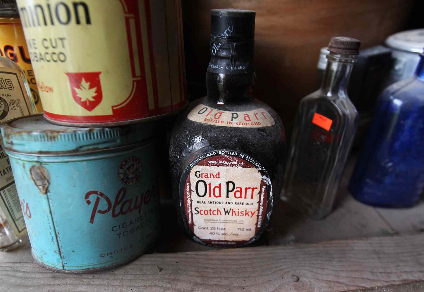 Old whiskey bottle and other misc. items for sale. Vivian Proden owns Junk for Joy just East of  Portage La Prairie, Manitoba on Hyw. #1 - Vivian, 84, is retiring after 34 years in the junk business and is having a 50% off sale starting this Friday. ((JOE BRYKSA / WINNIPEG FREE PRESS))