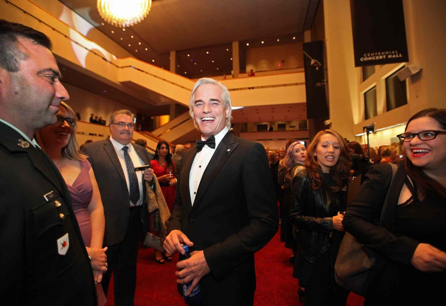 Paul Gross is all smiles as he chats with fellow crew members of Hyena Road and the VIP crowd on the second level of the Centennial Concert Hall Wednesday evening just prior to an exclusive screening of the show. (Ruth Bonneville / Winnipeg Free Press)