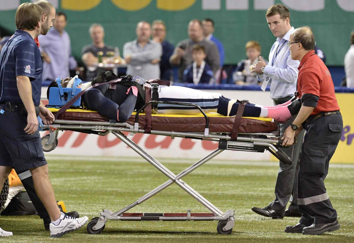 Toronto Argonauts defensive back Neiko Thorpe is taken off the field on a stretcher during the first quarter.