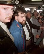 Denis Lortie, the suspect of a shooting spree at the Quebec National Assembly in Quebec City, arrives to appear at the Quebec Sessions Court, Wednesday May 9, 1984. The shootings in Ottawa on Wednesday brought back painful memories for Francois Gendron, who was a member of the Quebec legislature in 1984 when killer Denis Lortie stormed into the national assembly, fatally shooting three people and wounding 13 others. THE CANADIAN PRESS/Fred Chartrand