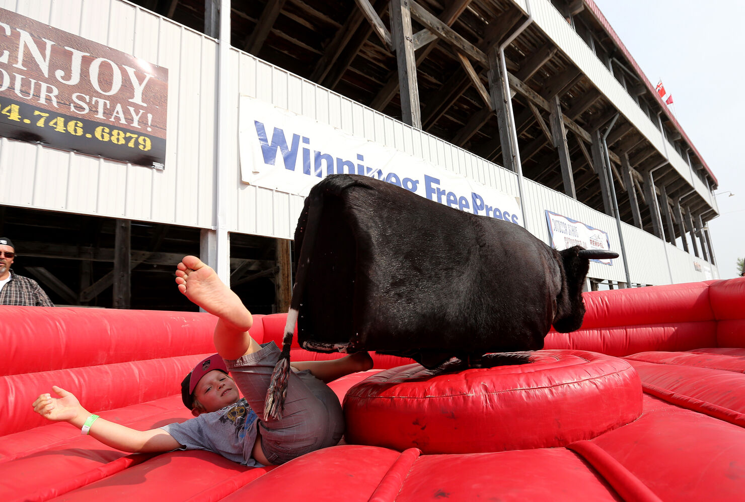 Xavier Laviolette, 8, is thrown from a mechanical bull at the Morris Stampede Saturday. (Trevor Hagan / Winnipeg Free Press)