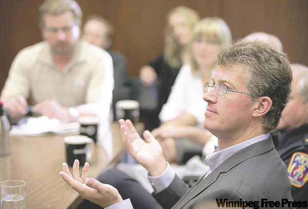 NDP leader hopeful Andrew Swan spoke to members of the professional community in Brandon.