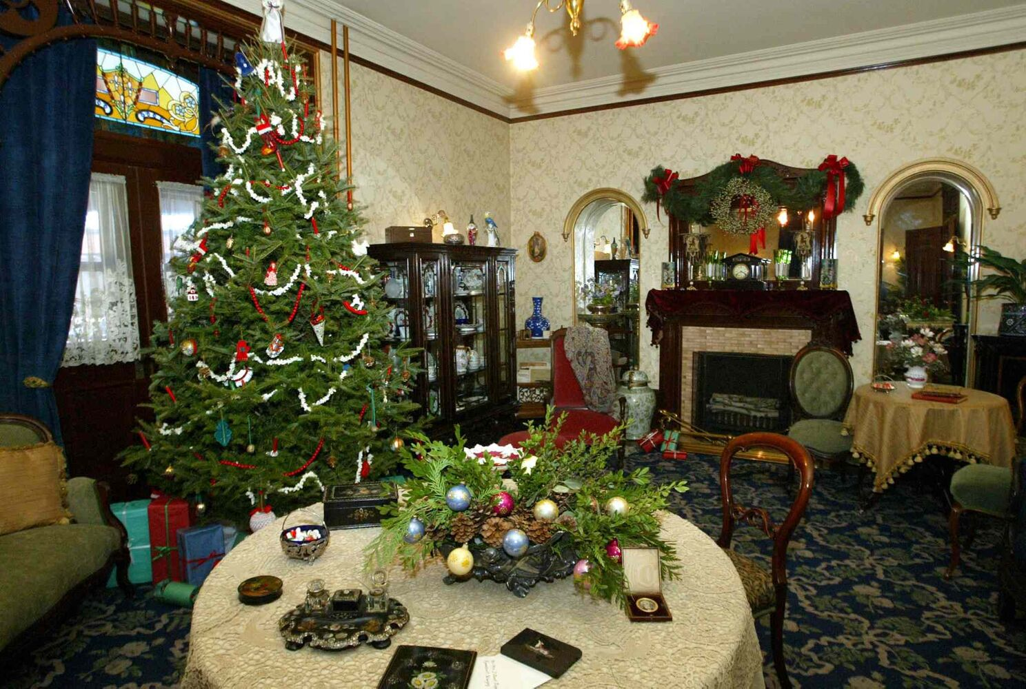 In this 2005 photo, Dalnavert Museum is filled with Christmas decorations.