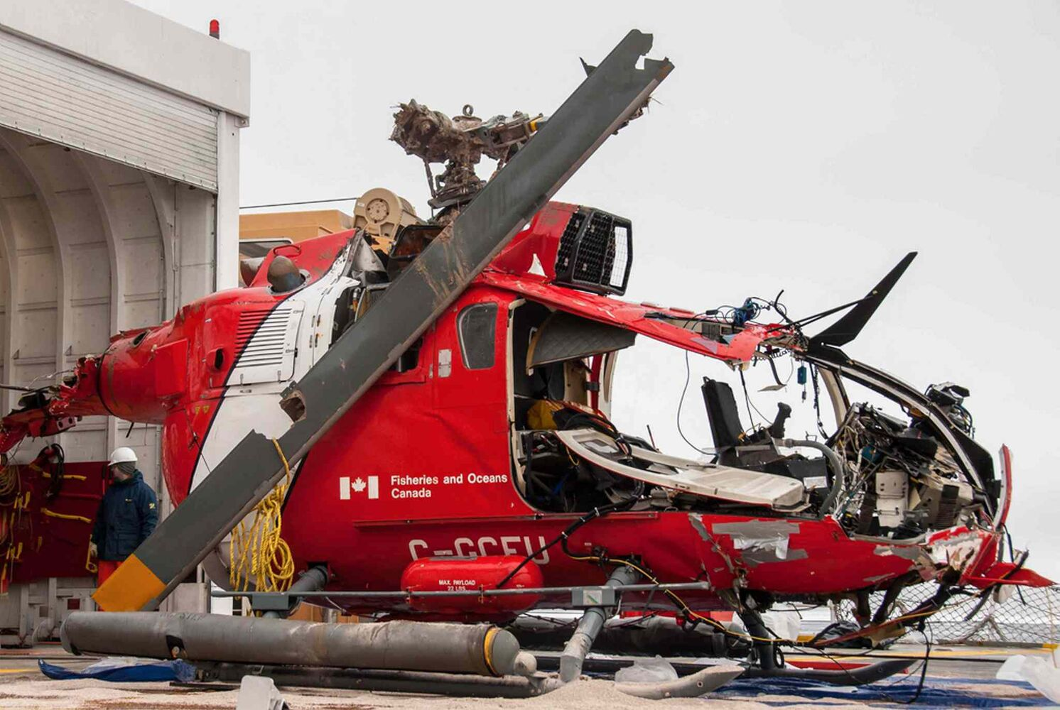 Wreckage of the Canadian Coast Guard helicopter Messerschmitt Bolkow-Blohm Bo 105