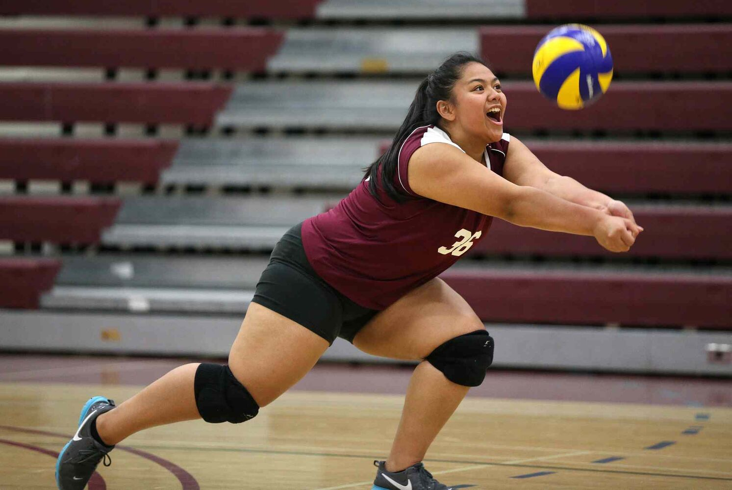 DMCI Maroons'  Abigail Ramos bumps the ball during the first set against the Grant Park Pirates. (TREVOR HAGAN / WINNIPEG FREE PRESS)