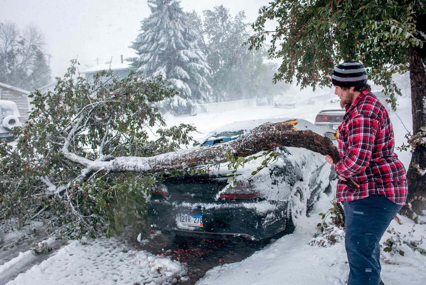 Zack Ruml, 20, of Rapid City, S.D, lifts a heavy crabapple tree branch off of his 1998 Pontiac Gran Prix on Friday, Oct. 4, 2013. The branch smashed the rear window and dented the trunk of the car. Trees in the city are still fully leaved and the heavy snow is breaking branches throughout the city.  (Steve McEnroe / The Associated Press)