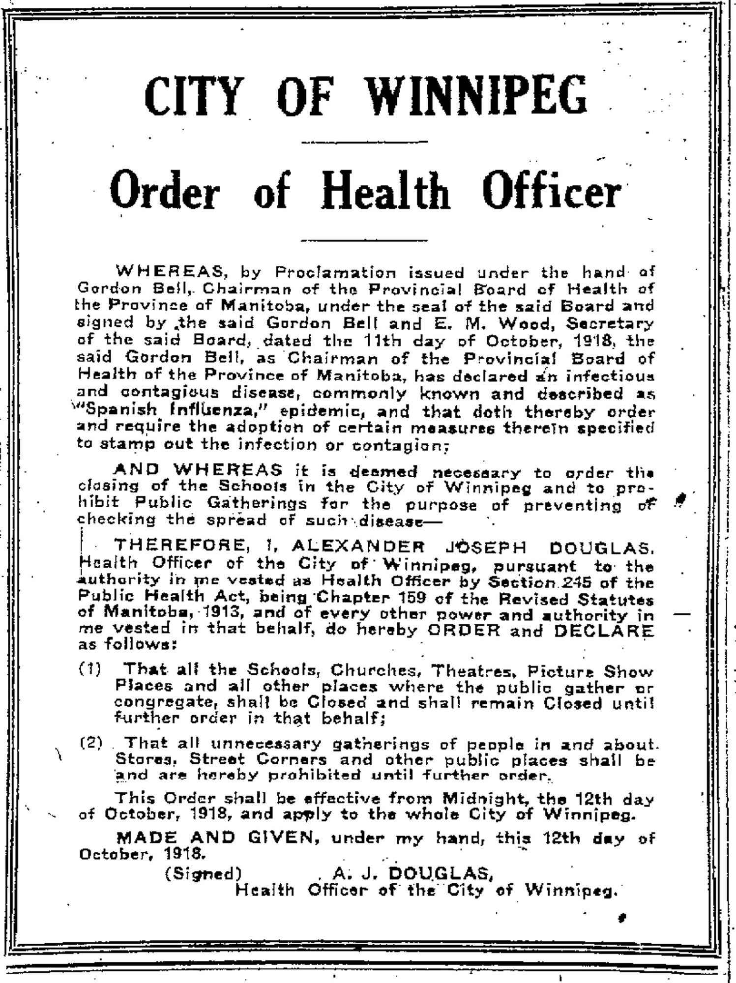 A public order banning public gatherings was published in the Free Press on Oct. 13, 1918.