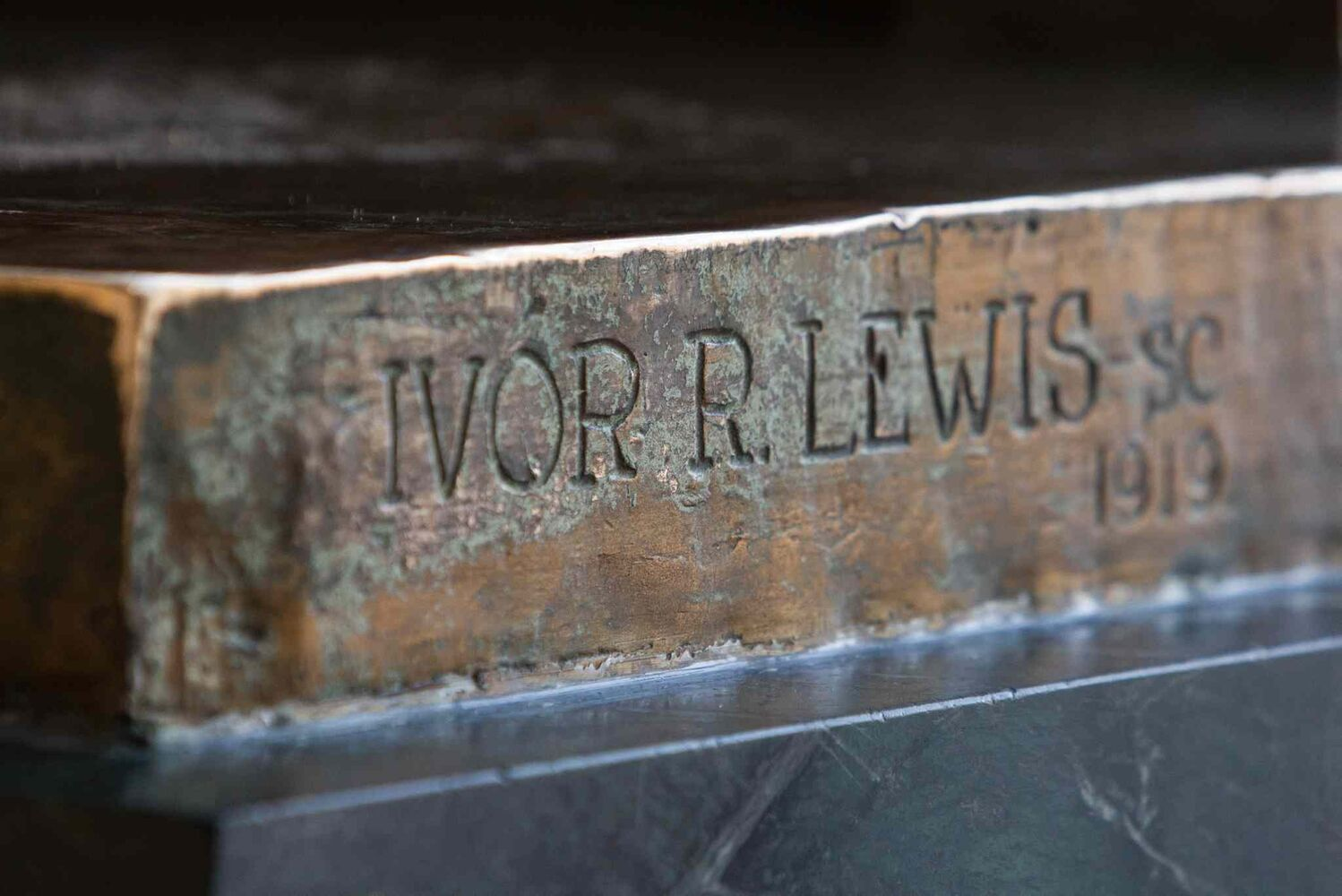 Detail showing the sculptor's name on the Timothy Eaton statue. (MIKE DEAL / WINNIPEG FREE PRESS)