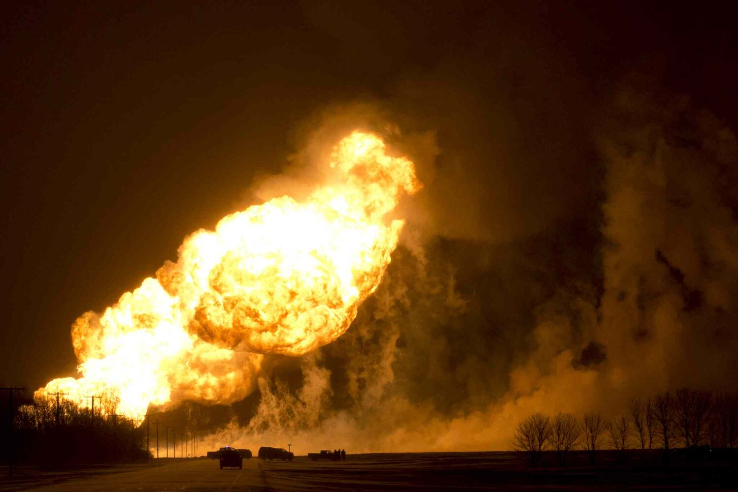A TransCanada natural gas pipeline exploded between Otterburne and Highway 59 in southeastern Manitoba around 1 a.m. Saturday, Jan. 25. (Jordan McRae)