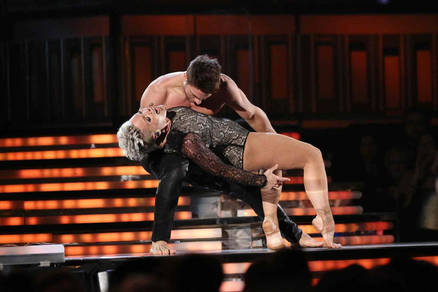 Pink performs Try at the 56th annual Grammy Awards.