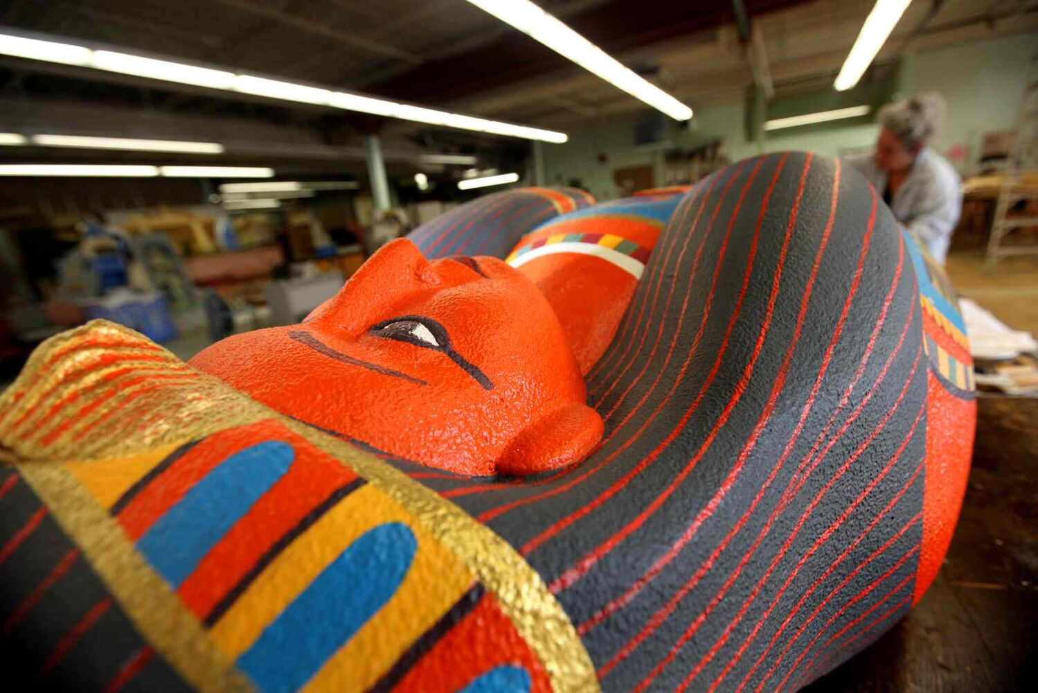 The sarcophagus features vibrant colours throughout. (Ruth Bonneville / Winnipeg Free Press)