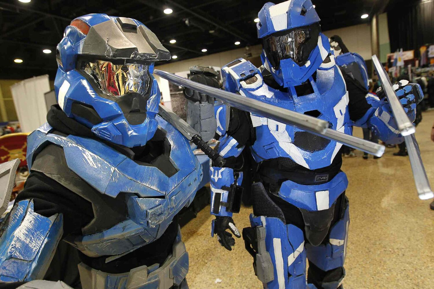 Raymond Smith (left) is dressed as Carter from Halo Reach, while Joshua Cook sports a Spartan Ops costume from Halo 4. (John Woods / Winnipeg Free Press)