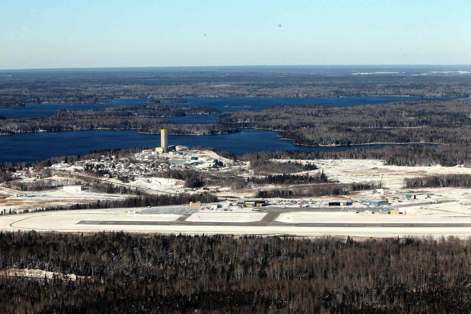 The airport at Red Lake, Ontario where a Bearskin Airline plane crashed just before landing killing five while two others survived.