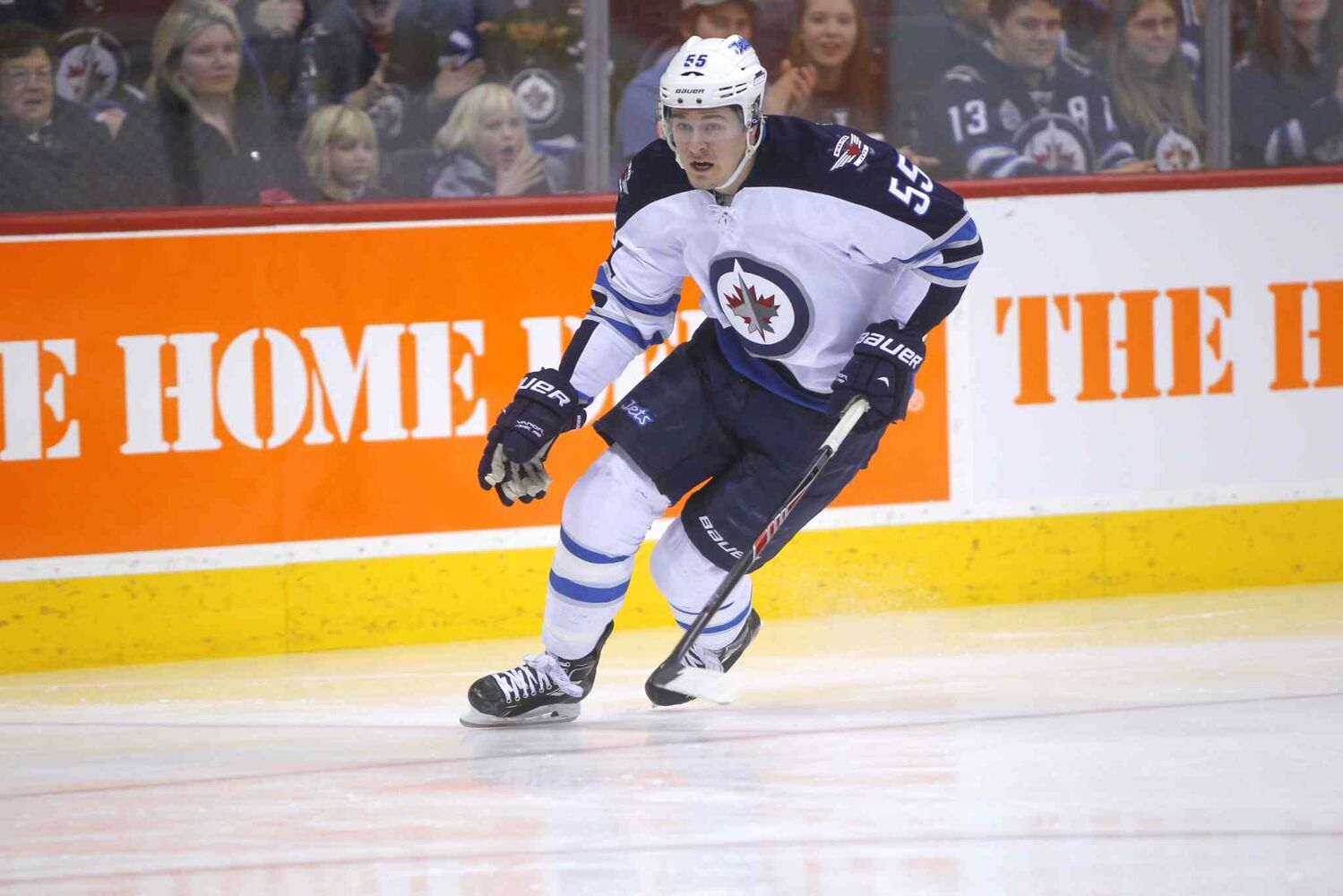 Mark Scheifele skates hard during the fastest skater competition.