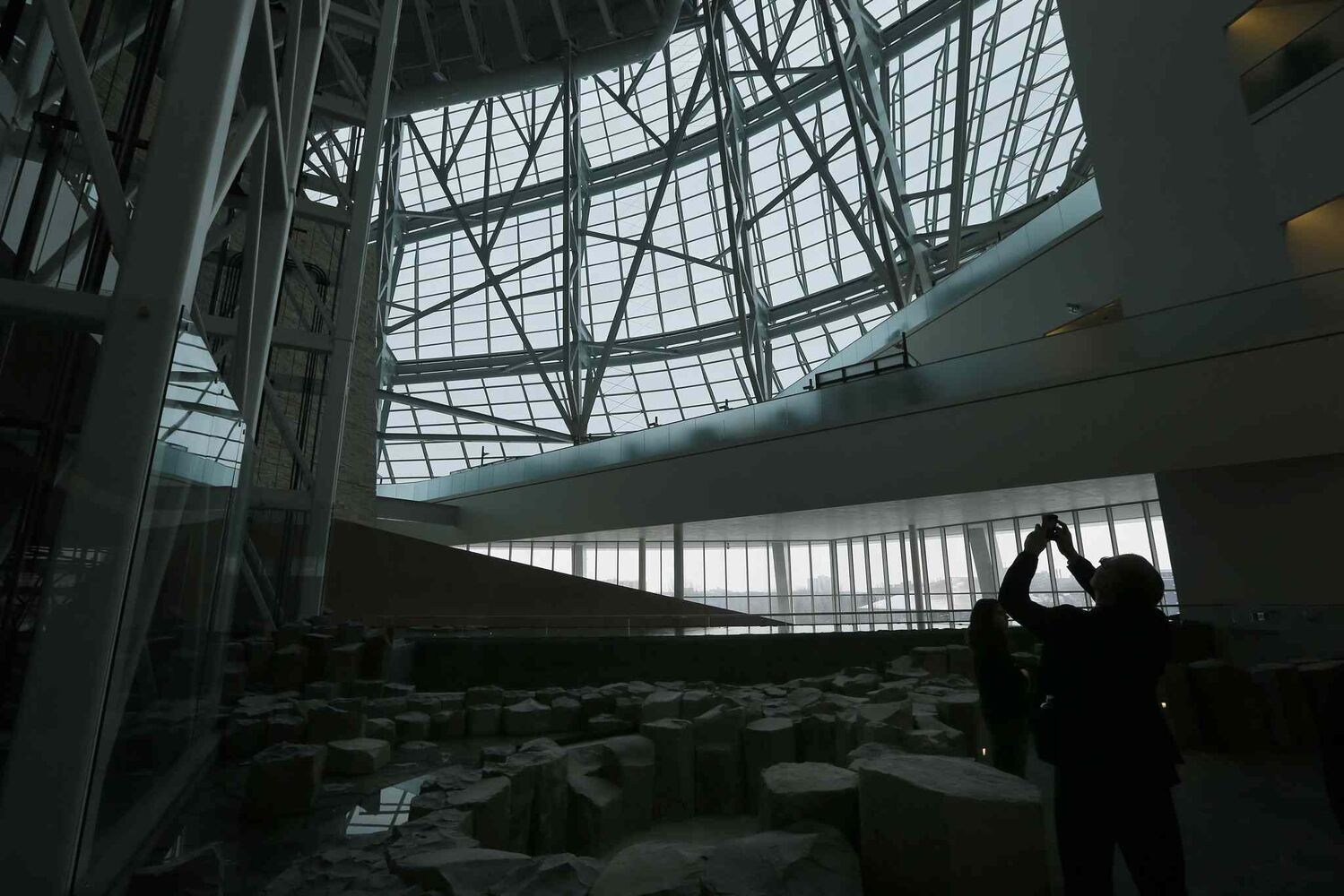 Light from the glass-walled outer structure brightens the public experience on the second level Garden of Contemplation. (KEN GIGLIOTTI / WINNIPEG FREE PRESS)