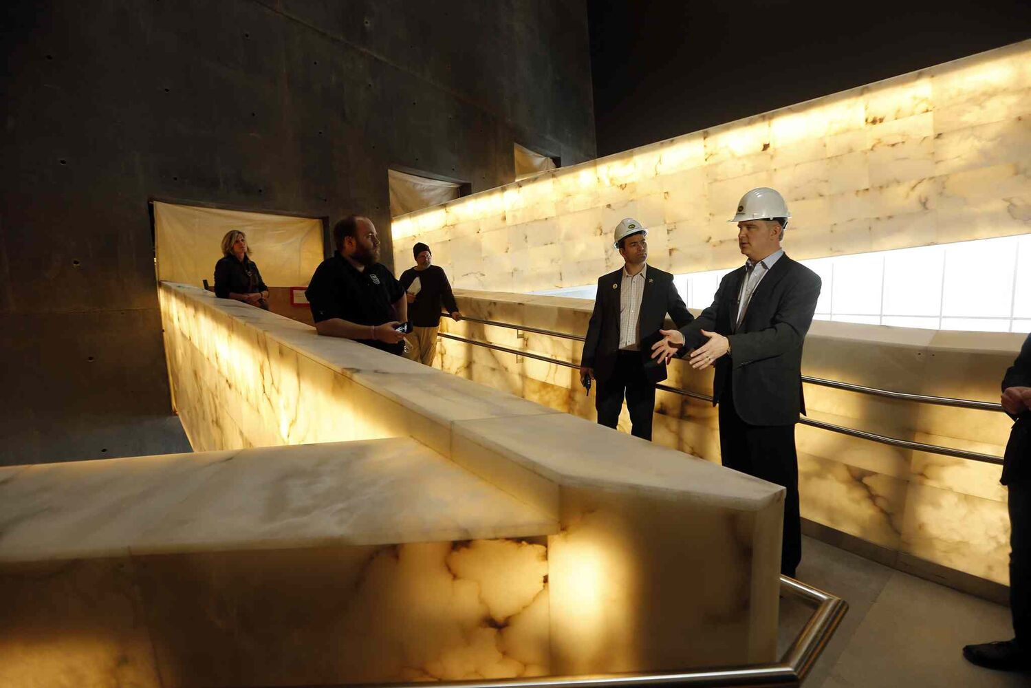 Todd Craigen, district manager with PCL, explains the Hall of Hope. (KEN GIGLIOTTI / WINNIPEG FREE PRESS)