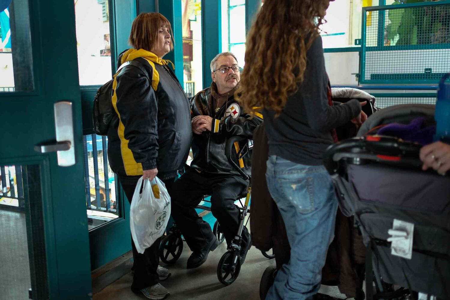 Waiting to take the elevator at The Forks.