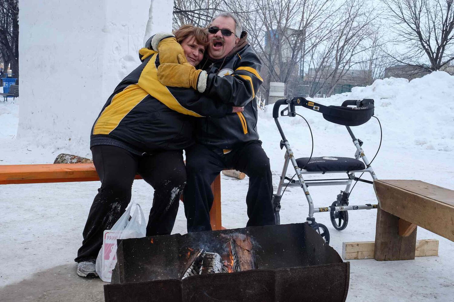 Warming up by one of the log fires at The Forks.