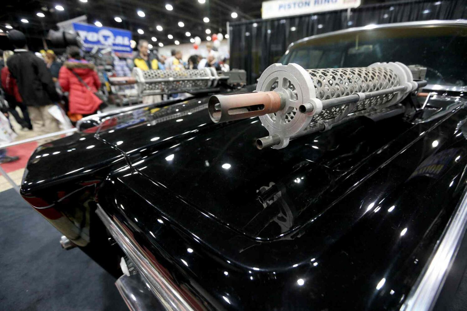 Machine guns mounted on the car from the Green Hornet movie at the World of Wheels Car show. (TREVOR HAGAN / WINNIPEG FREE PRESS)