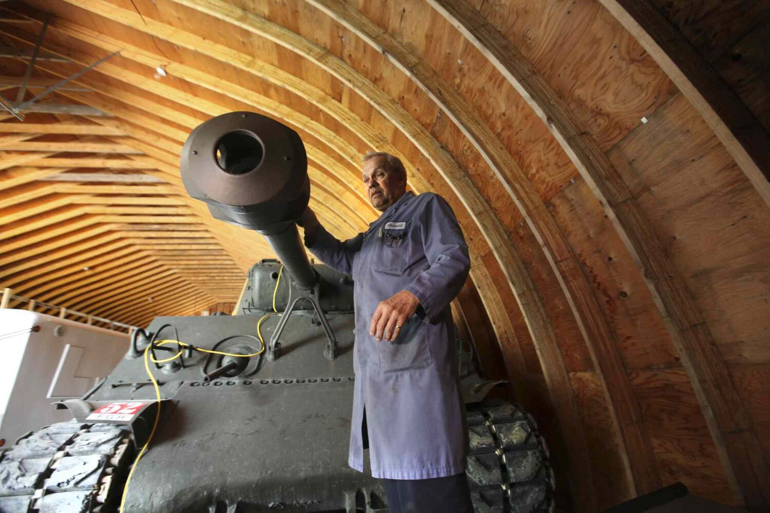 Harold Kihn has restored half a dozen military vehicles, including a 1944 Sherman tank. Military vehicles will be on display at the 60th Manitoba Threshermen's Reunion & Stampede in Austin July 24-27. (RUTH BONNEVILLE / WINNIPEG FREE PRESS)